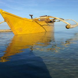 Yellow Morning... by Dick Shia - Transportation Boats ( sea, outrigger, boat )