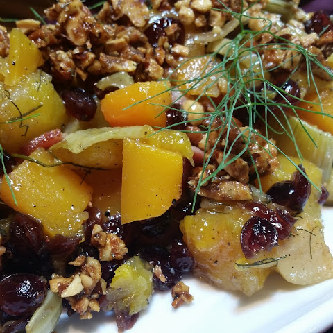 Roasted Butternut Squash with Maple Bacon, Fennel, and Cranberries