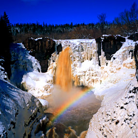 Pigeon Falls with a Rainbow by Shixing Wen - Landscapes Waterscapes ( minnesota, high falls, water falls, nature photography, grand portage state park, rainbow, pigeon river )