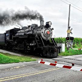 #90 Crossing by Jeff Via Sr. - Transportation Trains ( engine, train, pennsylvania, transportation, steam )
