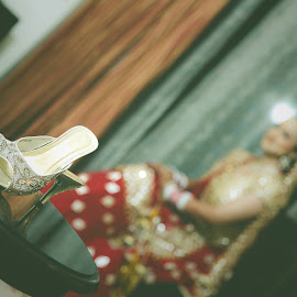 I want to look taller than him :) by Kshitij Bhaswar - Wedding Getting Ready ( canon, shoes, wedding photography, indian marriage, 5d mark3, candid photography, high heels, indian bride, indian wedding, accessories, portrait, bridal, wedding, weding photography, sandals, heels, bride, props )