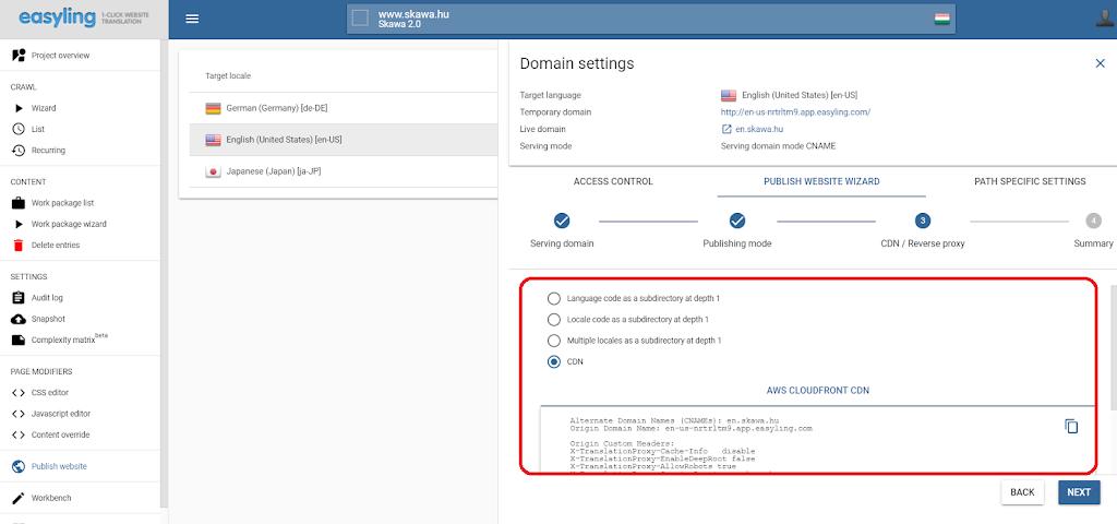 domain settings Easyling
