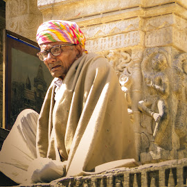 at the temple by Karin Wollina - People Portraits of Men ( temple, jaipur, rajasthan, india, portrait, man,  )