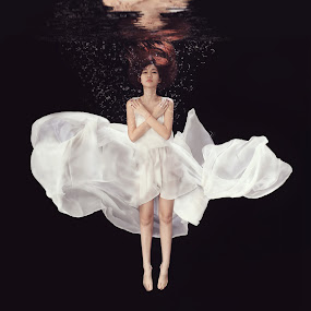 Drowned by Danny Tan - People Portraits of Women ( underwater, sad, white, drown, emotion )