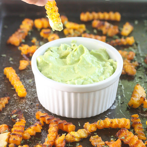 Easy Butternut Squash Fries with Avocado Dipping Sauce