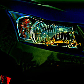 Headlitze1 by Paul Bellah - Abstract Patterns ( abstract, reflection, headlights, cars, night )