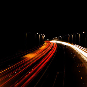 Motorway madness by Damien Brearley - Transportation Other ( tail lights, traffic, rush hour, motorway, tail, slow shutter, flyover )