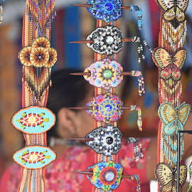 Hair Jewelry At Indian Pow Wow  by Lorraine D.  Heaney - Artistic Objects Jewelry