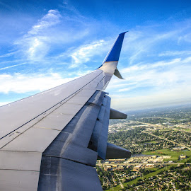 Home Swseet Home by Julio Guerrero - Transportation Airplanes ( clouds, home, united, wing, airplanes, airplane, beautiful, united airlines, sweet, sky, window, blue, airlines, wings, pilot, air bus,  )