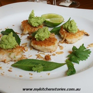 Prawn Cakes with Green Curry Pea Puree