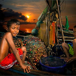 boys on fisherboat by Dries Fourie - Digital Art People