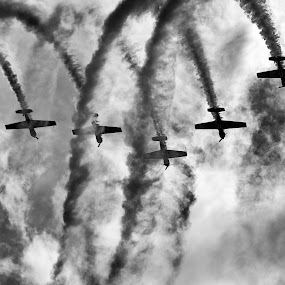 Going Down! by Javier Luces - Sports & Fitness Other Sports ( clouds, sky, white, air, aviones, planes, black, airshow )