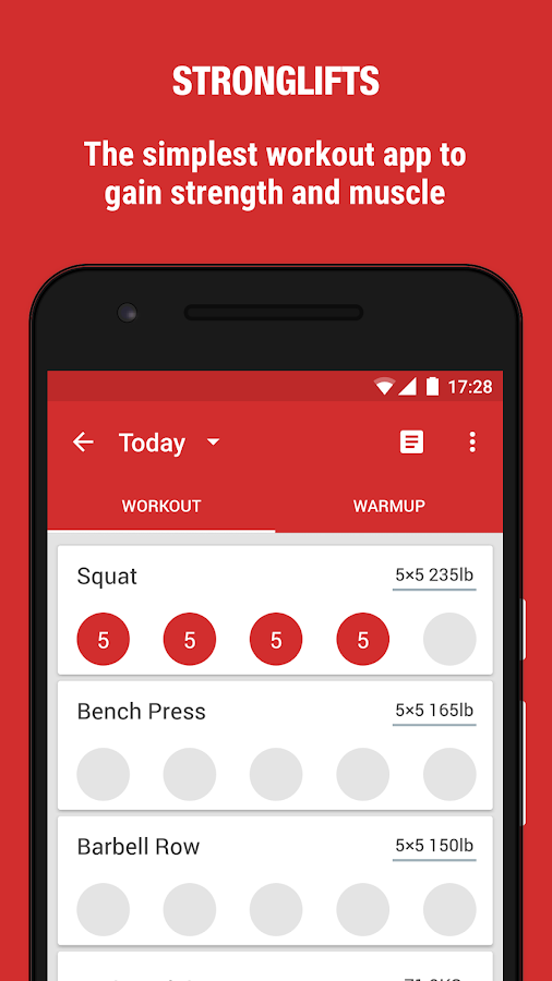 StrongLifts 5x5 Gym Workout Log & Personal Trainer Screenshot