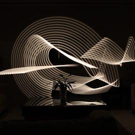 Ninja Sword Lights by Anam Afroz - Abstract Light Painting ( ninja, white, light, black, sword )