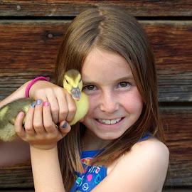 My baby by Giselle Pierce - Babies & Children Children Candids ( face, little girl, duckling, fun, kid, farm, bird, girl, friends, duck, summer, baby, animal )
