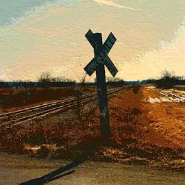 At the Crossing by Nancy Bowen - Digital Art Places ( railroad tracks, three added, depth )
