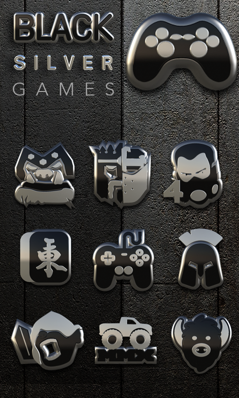 Icon Pack Black Silver 3D Screenshot 2
