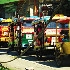 Colors on the street in the midst of chaos  by Lydia Chang - City,  Street & Park  Street Scenes ( hayian, tuktuk, colors, streets, philippines )