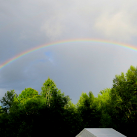 Rainbow in the back yard! by Linda Kennedy - Landscapes Weather ( good luck, thunderstorm, summertime, rainbow, rain,  )