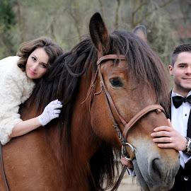 On a ride... by Klaudia Klu - Wedding Bride & Groom ( horse, bride, groom, shooting )