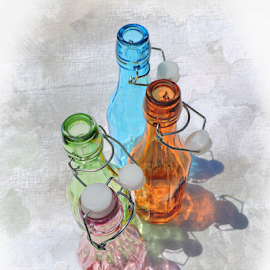 Topless by Melissa Davis - Digital Art Things ( bottled art, missysphotography, rainbow, colored bottles, bottle art )