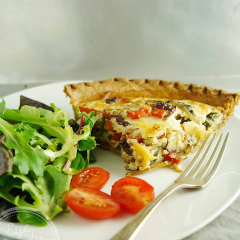 Quick weeknight vegetarian dairy-free Swiss chard and mushroom quiche
