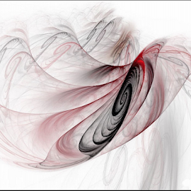 Shaking off the Doubt by Nancy Bowen - Illustration Abstract & Patterns ( spirals, red, abstract art, white background, black, motion blur )