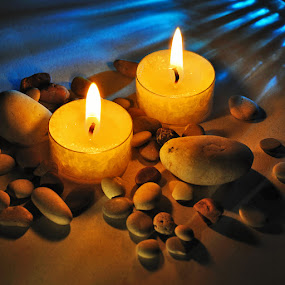 Little Lights Of Mind by Leonard Sani - Artistic Objects Other Objects ( lights, reflection, warm, bluish, candles, stone, mind )