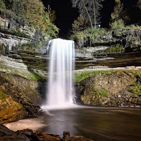 Minnehaha Falls by Peter Stratmoen - City,  Street & Park  Night ( minnesota, waterfalls, minnehaha, night, long exposure, nikon, city park,  )