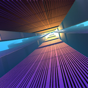 Go Towards the Light by Lyle Hatch - Illustration Sci Fi & Fantasy ( heavenly, purple, blue, heaven, mysterious, 3-d, walking towards the light, sci-fi, fractal, light, three dimensional, fasntasy )