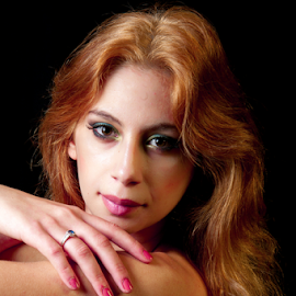 Relaxed by Myra Brizendine Wilson - People Fashion ( model, photography studio, female, red dress, female model, beautiful model )