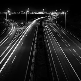 Azurva light trail by Carlos Costa - Black & White Landscapes ( aveiro, azurva, light, highway, light trail )