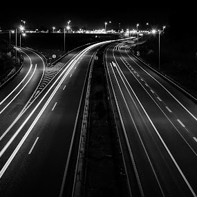 Azurva light trail by Carlos Costa - Black & White Landscapes ( aveiro, azurva, light, highway, light trail )