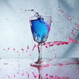 Another splash of red. by Peter Salmon - Artistic Objects Glass ( water, red, splashing, splash, glass )