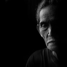 Half Face by Amril Nuryan - People Portraits of Men ( old, mature, sad, bw, senior citizen, man, portrait )