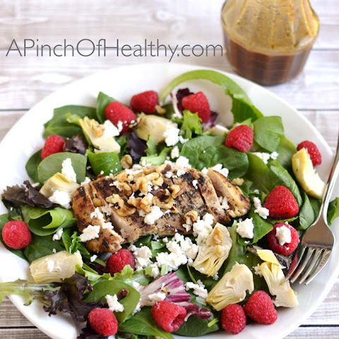 Grilled Chicken Salad with Raspberries, Walnuts and Artichoke Hearts