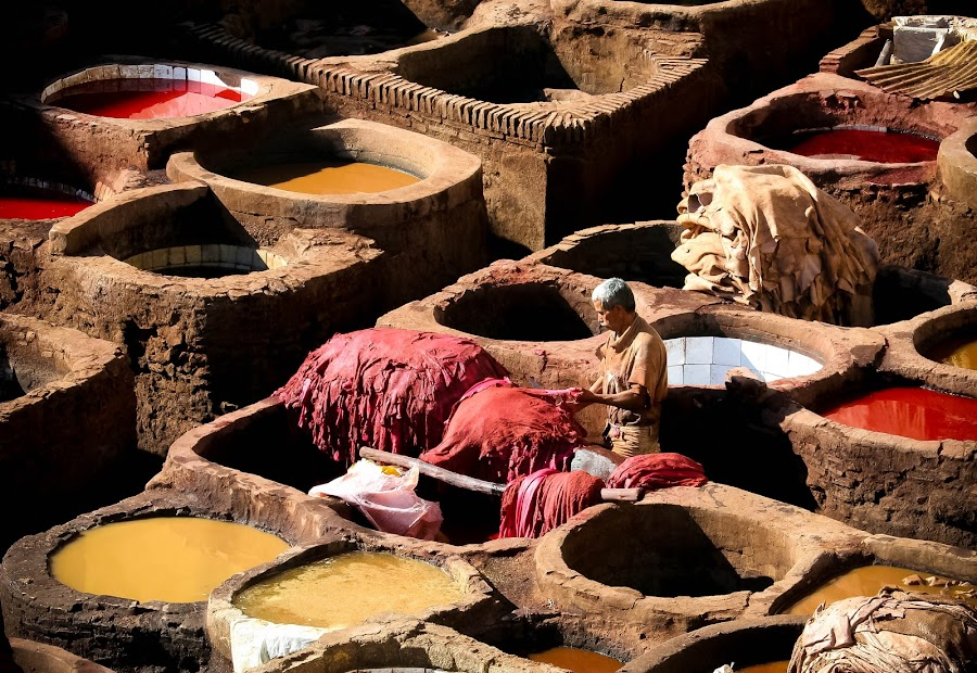 World's Oldest Tannery by Tom Howes - Professional People Factory Workers ( morocco )