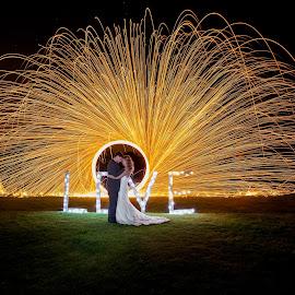 Night by Lodewyk W Goosen (LWG Photo) - Wedding Bride & Groom ( love, wedding photography, wedding photographers, night photography, wedding day, weddings, wedding, wedding dress, wedding photographer, bride and groom, bride, groom, bride groom, flame )
