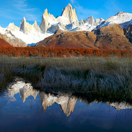 Fitz Roy Reflections! by Itamar Campos - Landscapes Mountains & Hills ( argentina, mountains, los glaciares, patagonia, reflections, fitz roy )
