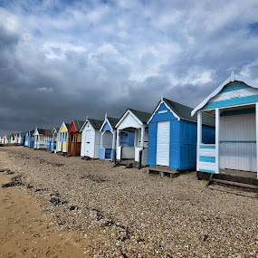 by Becky Wheller - Landscapes Beaches ( clouds, beach huts, seaside, beach, seascape, storm )
