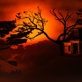 Abandoned Hill Church by Eugene Linzy - Digital Art Places ( hills, church, trees, dusk, mist, abandoned )