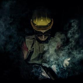 Working class hero. by Devesh Kalla - People Portraits of Men ( workshop, worker, factory, cinematic, men, working, iron, smoke, portrait )