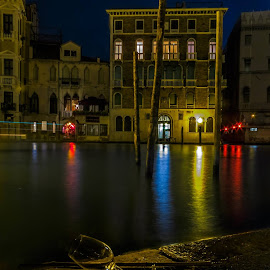 Grand Canal, Venice by night by Dejan Vuckovic - City,  Street & Park  Historic Districts ( famous, reflection, old, europe, italian, exterior, street, travel, cityscape, architecture, landscape, attraction, historic, city, lights, italia, grand, dark, monument, evening, italy, light, site, picturesque, building, twilight, beautiful, romantic, sea, tourism, canal, urban, landmark, tourist, european, outdoors, night, bridge )