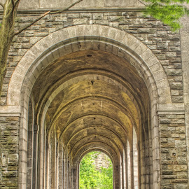 Billing Arcade by Zev Steinhardt - Buildings & Architecture Other Exteriors ( fort tryon, arches, bricks, architecture, new york city, nyc, abandoned )