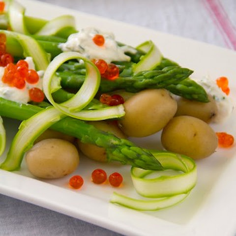Asparagus Salad with New Potatoes, Crème Fraîche and Salmon Roe