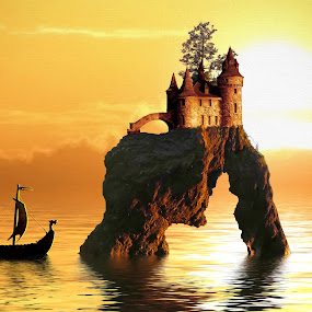 Viking Castle by Charlie Alolkoy - Illustration Buildings ( water, sunset, cliff, sea, castle )