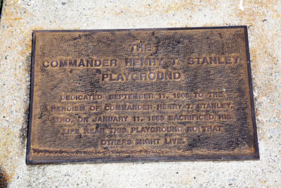 A plaque for a Navy pilot who guided his crippled plane down to a safe spot, dying in the process.