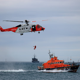 Irish Coast Guard by Quel Mirhan - Transportation Helicopters ( helicopter, coastguard, rescue, seascape, boat )