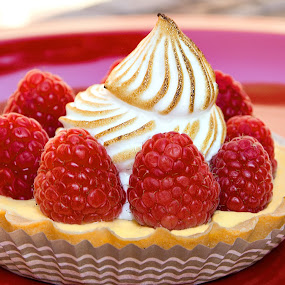 Sweet treat. by Meaghan Browning - Food & Drink Plated Food ( tart, decorative, bright, raspberry, yummy, cheese, delicious, whipped, cream, sweet, pastry, rasberry, dessert )