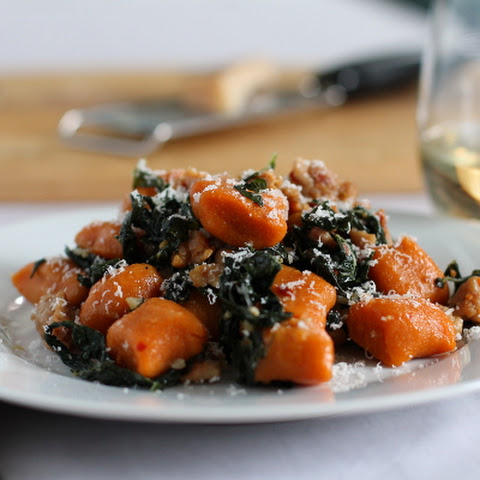Whole Wheat Sweet Potato Gnocchi with Chicken Sausage and Kale